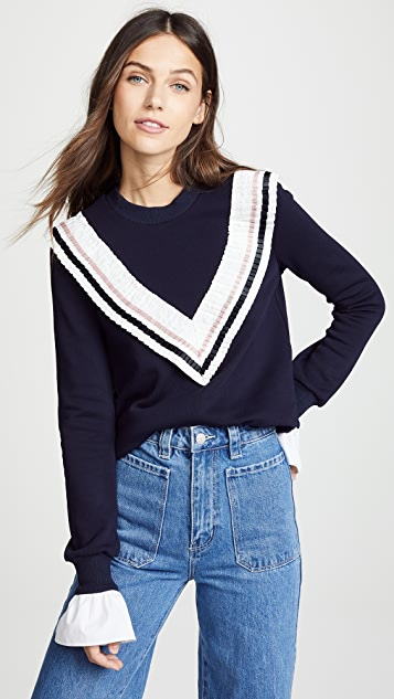 ENGLISH FACTORY Sweatshirt with Ruffle Trim