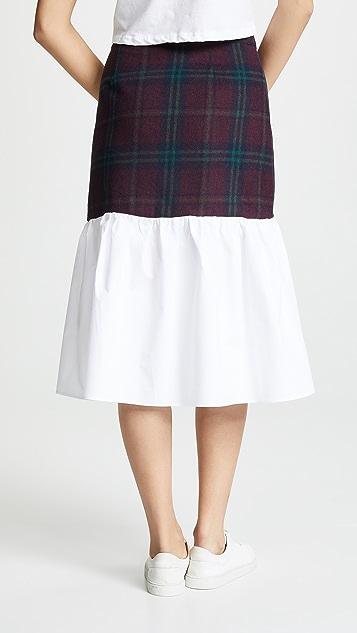 ENGLISH FACTORY Комбинированная юбка в шотландскую клетку
