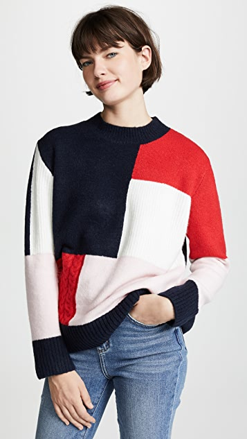 ENGLISH FACTORY Patchwork Knit Sweater
