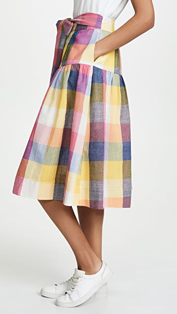 ENGLISH FACTORY Gingham Midi Skirt with Tie