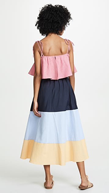 ENGLISH FACTORY Colorblocked Maxi Dress