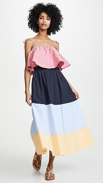 ENGLISH FACTORY Макси-платье с цветными блоками