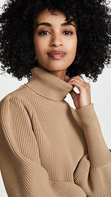 ENGLISH FACTORY Turtleneck Ribbed Sweater
