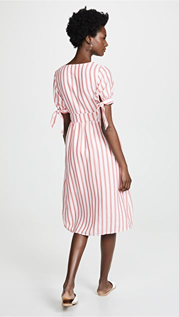 ENGLISH FACTORY Striped Midi Dress With Tie