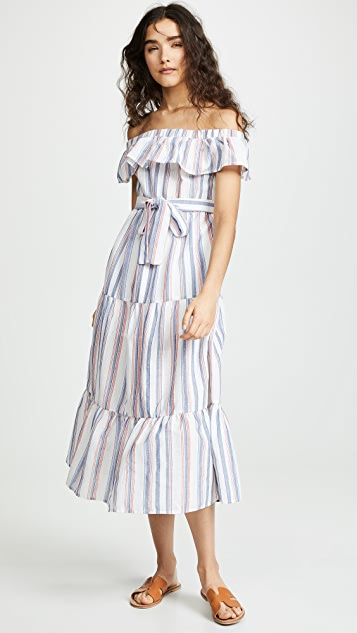 Off Shoulder Striped Dress by English Factory