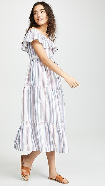 ENGLISH FACTORY Off Shoulder Striped Dress