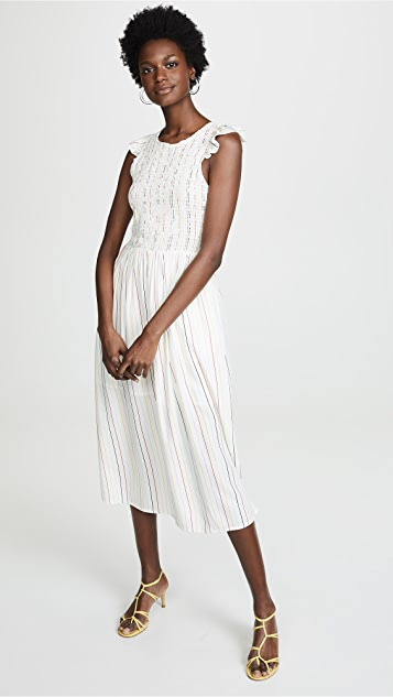 Smocked Stripe Midi Dress by English Factory