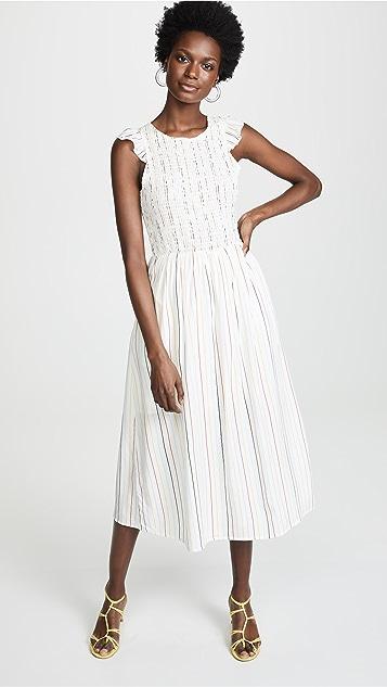 ENGLISH FACTORY Smocked Stripe Midi Dress