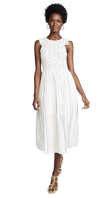 ENGLISH FACTORY Миди-платье в полоску со сборками