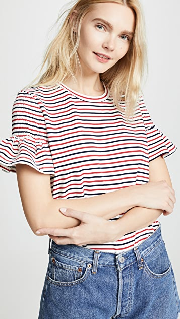 ENGLISH FACTORY Smocked Striped Tee