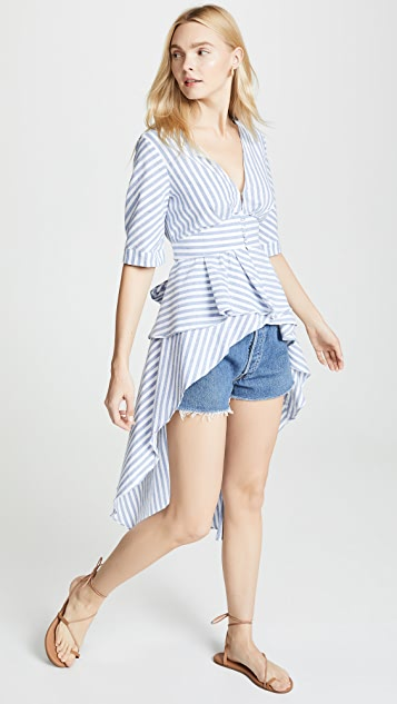 ENGLISH FACTORY Striped High Low Top