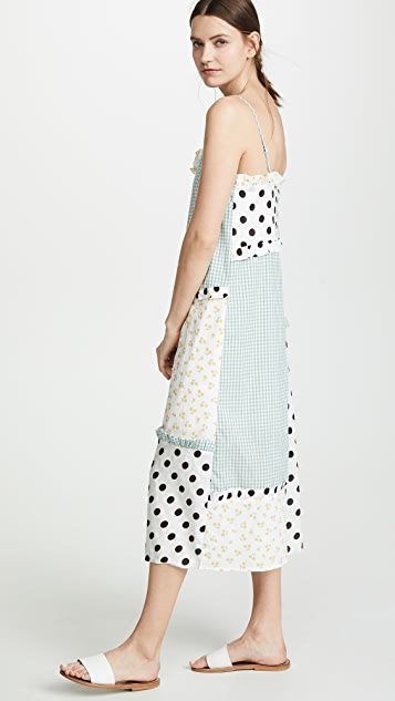 ENGLISH FACTORY Mixed Print Slip Dress