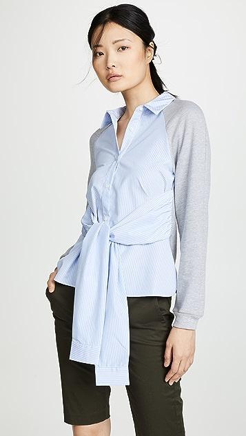 ENGLISH FACTORY Комбинированная рубашка на пуговицах в полоску