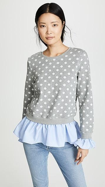 ENGLISH FACTORY Polka Dot Combo Sweatshirt