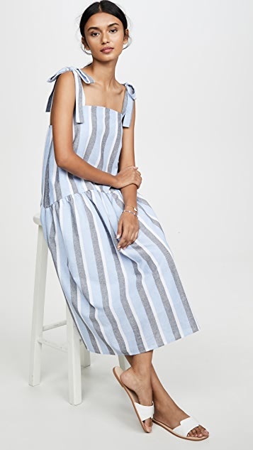 ENGLISH FACTORY Curved Hem Striped Dress