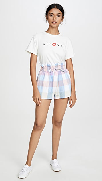 ENGLISH FACTORY Gingham Ruffle Shorts