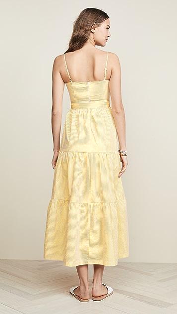 ENGLISH FACTORY Макси-платье в полоску из ткани в рубчик