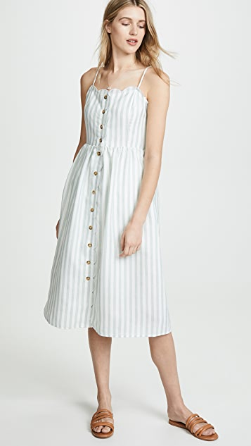 ENGLISH FACTORY Scallop Edge Midi Dress