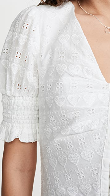 ENGLISH FACTORY Heart Eyelet Mini Dress