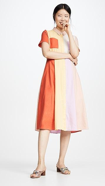 ENGLISH FACTORY Colorblock Midi Dress