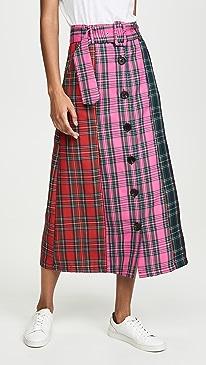 Colorblock Tartan Skirt