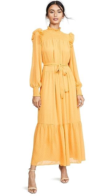 ENGLISH FACTORY Макси-платье со сборками в мелкий горошек