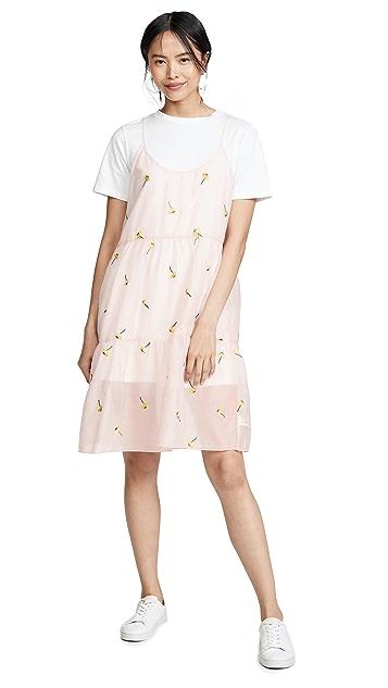 ENGLISH FACTORY Платье-футболка со сборками в стиле комбинации