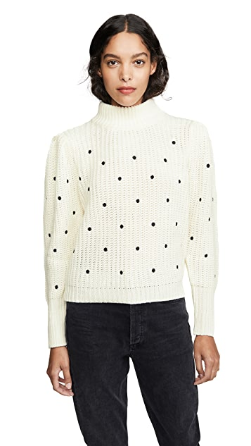 ENGLISH FACTORY Ruffle Smocked Dot Embroidered Sweater