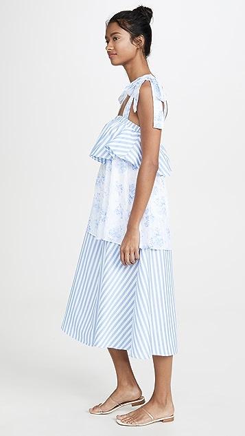 ENGLISH FACTORY 混合印花中长连衣裙