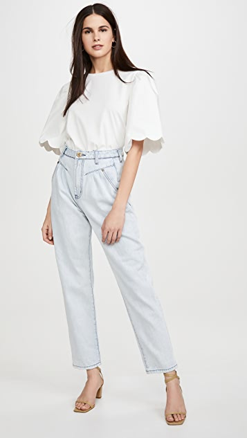 ENGLISH FACTORY A Line Puff Sleeve Top