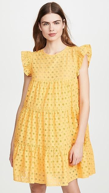 ENGLISH FACTORY 圆孔层褶连衣裙