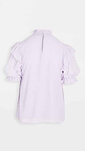 ENGLISH FACTORY Smocked Neck Blouse