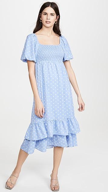 ENGLISH FACTORY 圆点图案长连衣裙