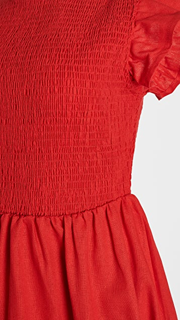 ENGLISH FACTORY 抽褶荷叶袖连衣裙