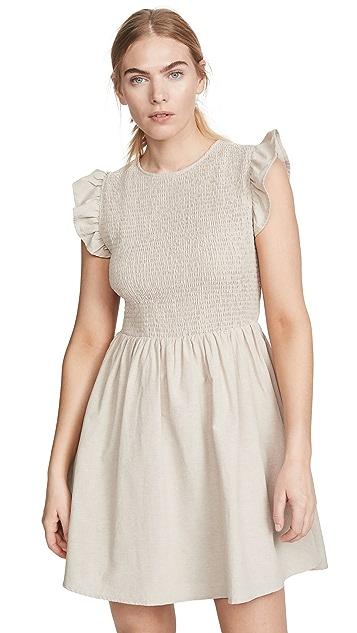 ENGLISH FACTORY Smocked Ruffle Sleeve Dress