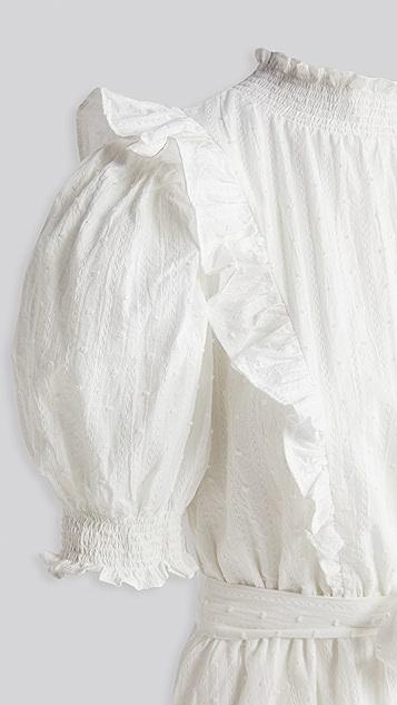 ENGLISH FACTORY Textured Puff Mini Dress