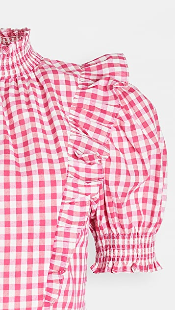 ENGLISH FACTORY Gingham Ruffled Top