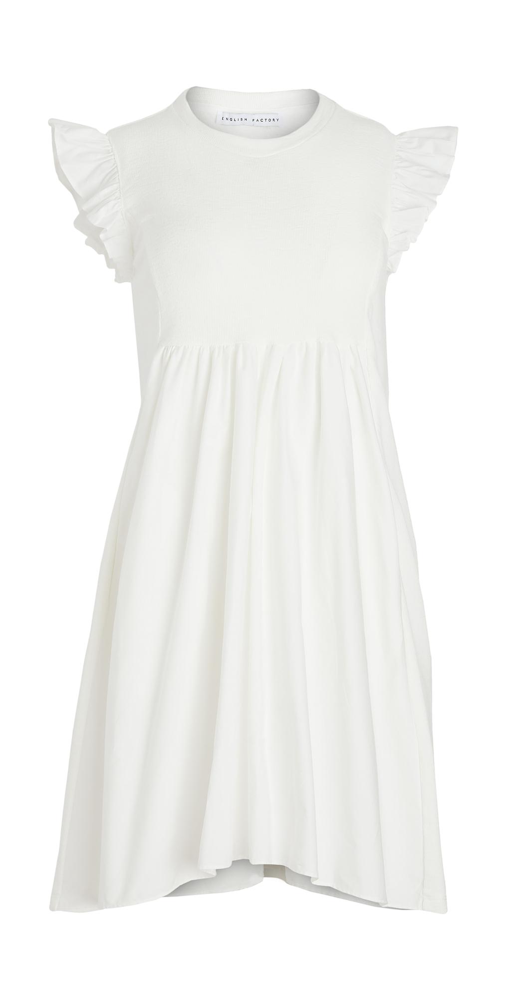ENGLISH FACTORY Knit Poplin Mixed Dress