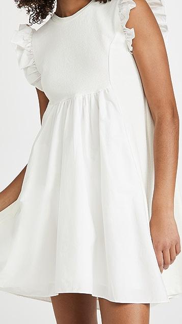 ENGLISH FACTORY 针织府绸混合连衣裙