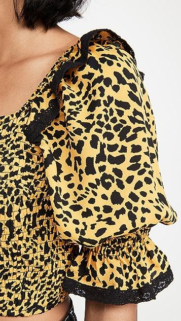 ENGLISH FACTORY Ruffle Sleeve Leopard Print Top