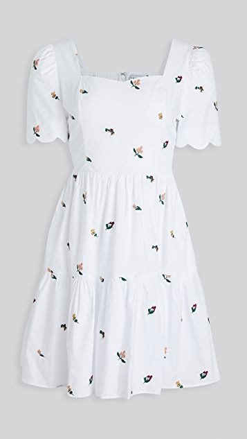 ENGLISH FACTORY Floral Embroidered Tiered Dress