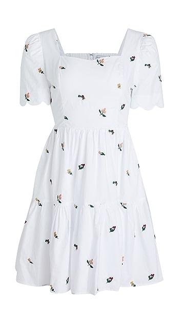 ENGLISH FACTORY 花卉刺绣层褶连衣裙