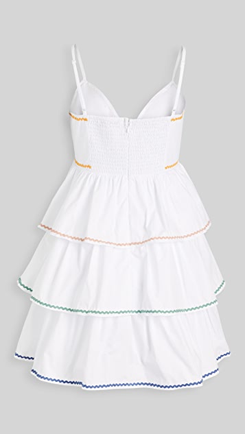 ENGLISH FACTORY Colorblock Wave Trim 3 Tiered Dress