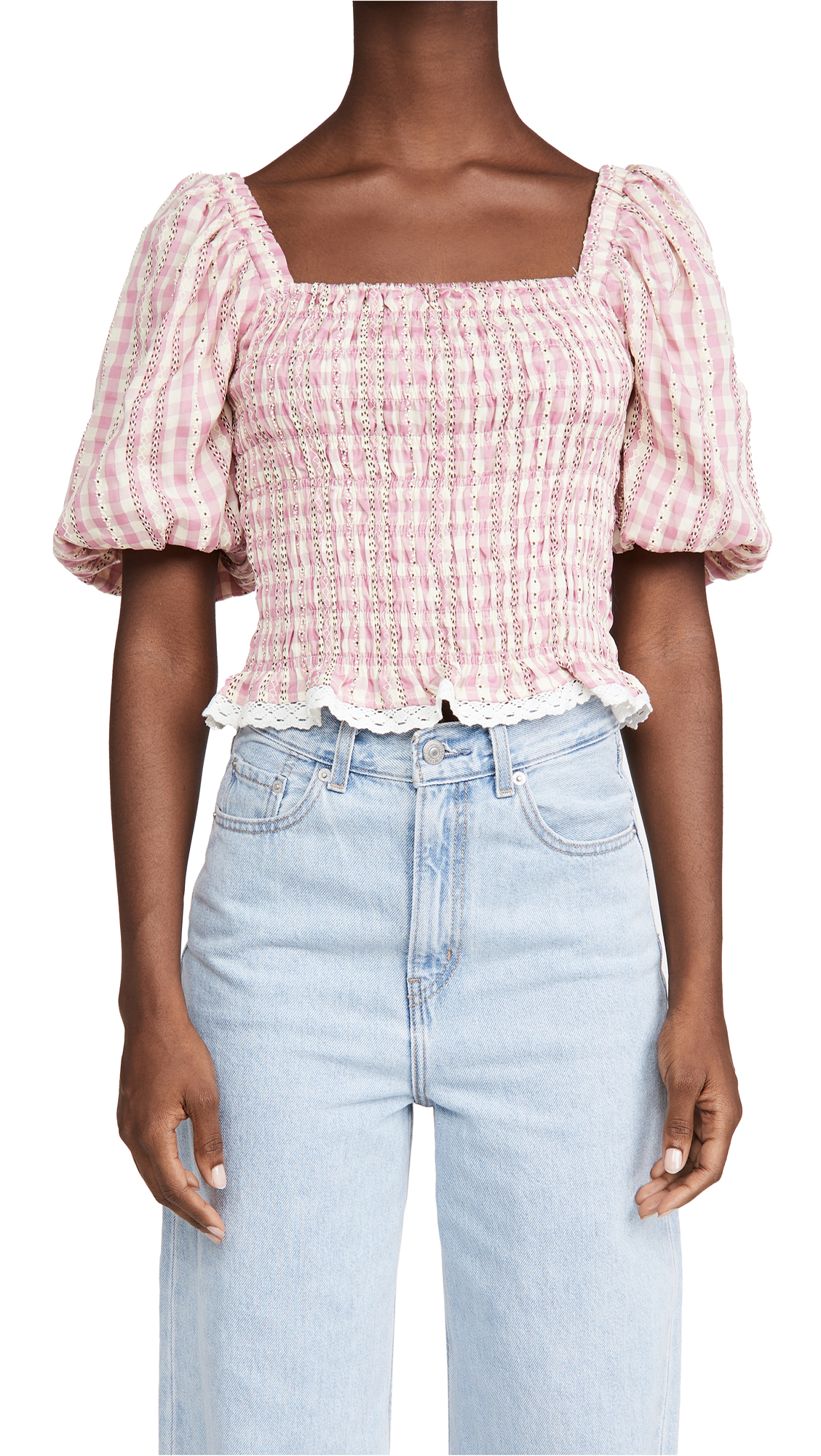 ENGLISH FACTORY Gingham Smocked Top