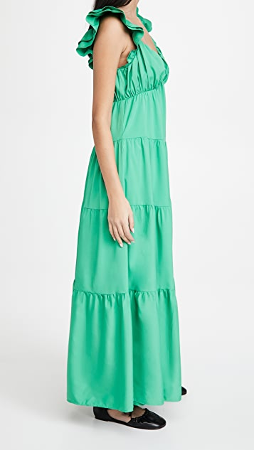 ENGLISH FACTORY Ruffle Sleeve Maxi Dress