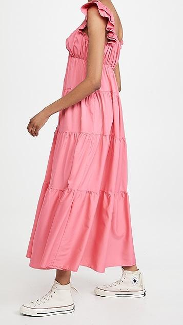 ENGLISH FACTORY 荷叶袖长连衣裙