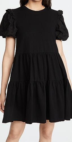 ENGLISH FACTORY - 圆孔衣袖荷叶边连衣裙