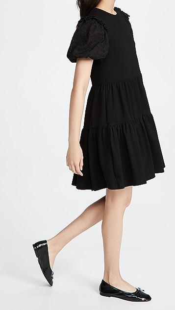 ENGLISH FACTORY 圆孔衣袖荷叶边连衣裙