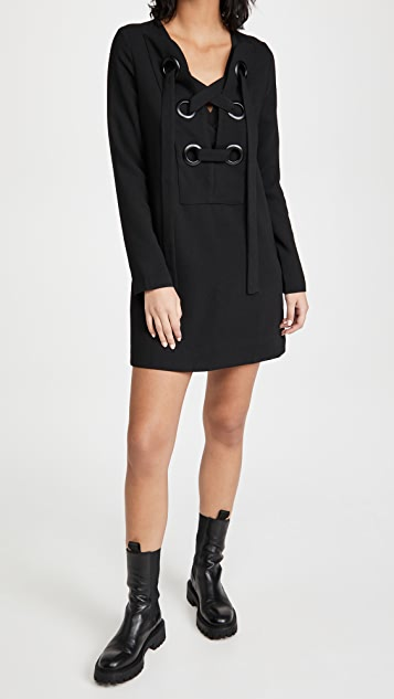 ENGLISH FACTORY Front Lace Up Dress