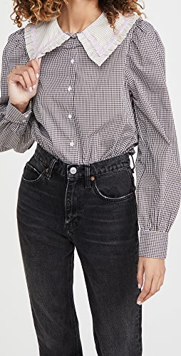 ENGLISH FACTORY - Gingham Check Long Sleeve Blouse